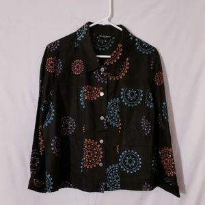 Ladies Stylish Linen Jacket with multi pattern